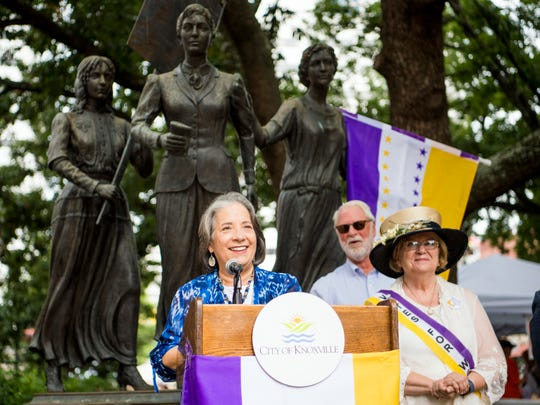 Knoxville Mayor Madeline Rogero announces a grant program supporting activities recognizing and celebrating the passage of the 19th Amendment during an announcement event Tuesday, July 30, 2019, in front of the suffrage memorial in downtown Knoxville's Market Square.