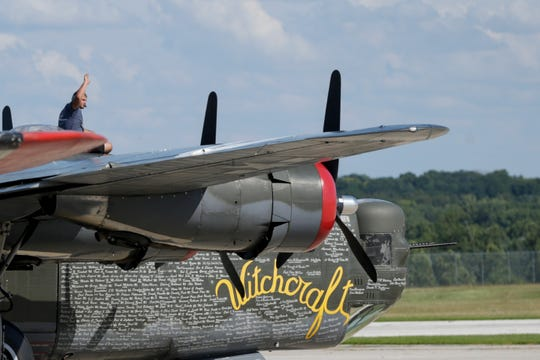 A B-24 Liberator takes off, Tuesday, July 30, 2019 at Purdue University Airport in West Lafayette. The planes, a B-17, B-24, B-25 and P-51 will be on display and available for flights until Thursday, Aug. 1.