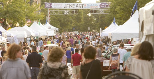 Brighton Main Street Wine Art Music Festival, which runs Friday through Sunday, will feature several changes compared to past festivals. In this photo, crowds fill Main Street for the 2018 Brighton Fine Art & Acoustic Music Festival, the festival's previous name.