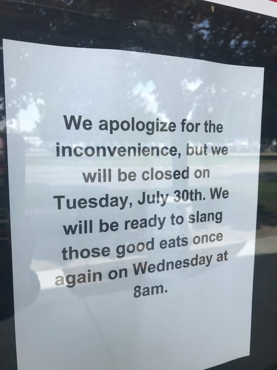 A sign at The People's Kitchen Tuesday July 30, 2019 announced it would be closed for the day. The restaurant parted ways with Zane Vicknair, chef and part owner.