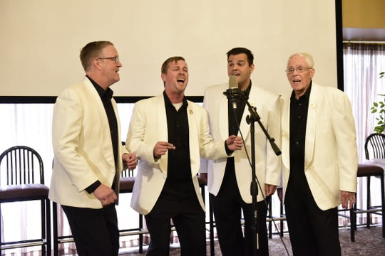 "The barbershop quartet Bravada sings ""Moondance"" by Van Morrison during Monday's finale of Mansfield's Got Talent."