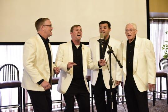 "The barbershop quartet Bravada sings ""Moondance"" by Van Morrison during Monday's finale of Mansfield's Got Talent."