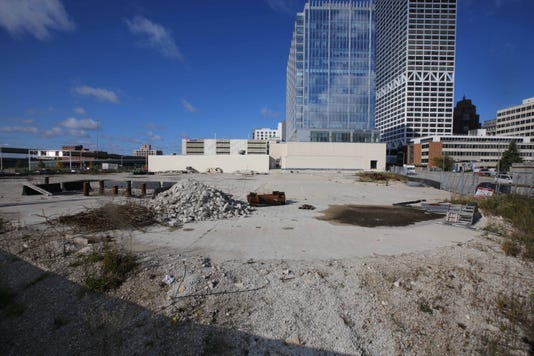 The owners of the Couture apartment high-rise development site are late on paying their property taxes.