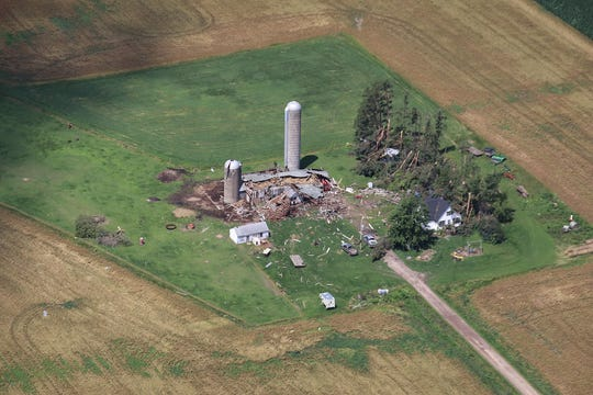 Severe thunderstorms caused damage across Wisconsin in mid-July, including damage to these buildings in northwest Wisconsin.  The severe storms spawned a number of tornadoes across the state.