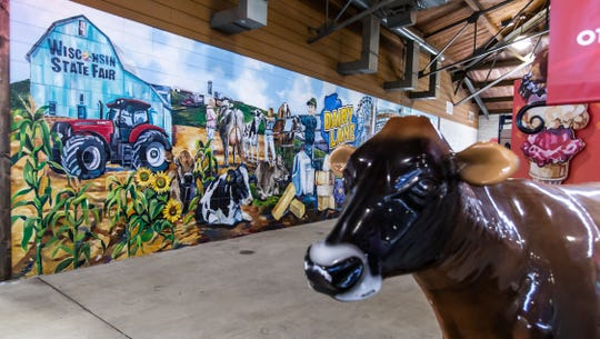 Dairy Lane is a brand new interactive exhibit at this year's State Fair as seen on Tuesday, July 30, 2019. The exhibit features a mural and multiple interactive learning stations.