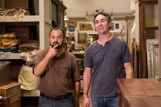 "Frank Fritz (left) and Mike Wolfe of ""American Pickers"" are heading to Wisconsin this fall."