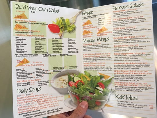 A menu shows some of the items for sale at Salad Express in Montgomery.