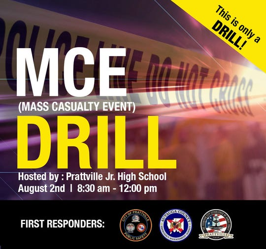 Prattville first responders are conducting a disaster drill Friday morning.