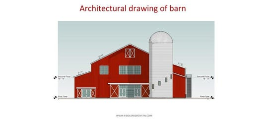 A drawing shows a permanent birthing barn planned for the James E. Ward Agricultural Center, where the Wilson County Fair is held.