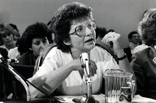 Mary Purcell, former Nashville mayor Bill Purcell's mother, speaks at a 1995 United Nations conference in Beijing, China