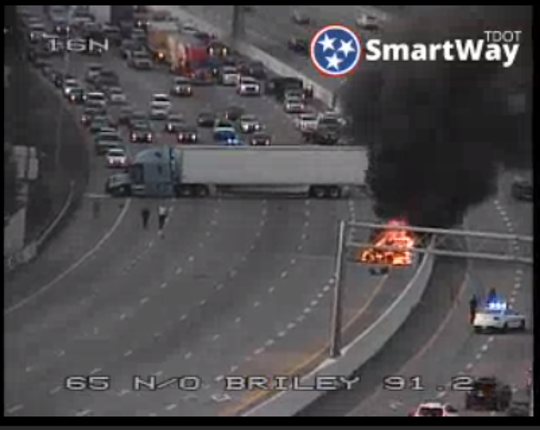 Emergency crews are responding to a fiery crash that has shut down Interstate 65 Southbound near the Briley Parkway exchange.