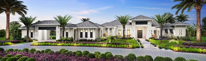 The Streamsong model that will feature 5,295 square feet under air and a 1,191 square foot outdoor living area is under construction at Quail West.