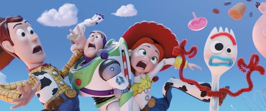 Tom Hanks, Tim Allen and Joan Cusack return as the voices of Woody, Buzz and Jessie, and comedian Tony Hale lends his voice to Forky, in ?Toy Story 4.?  Disney/Pixar