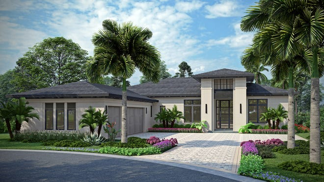 Priced at $2,593,035 with furnishings, London Bay Homes' 3,527 square feet under air Pembrook model is under construction in Caminetto at Mediterra.