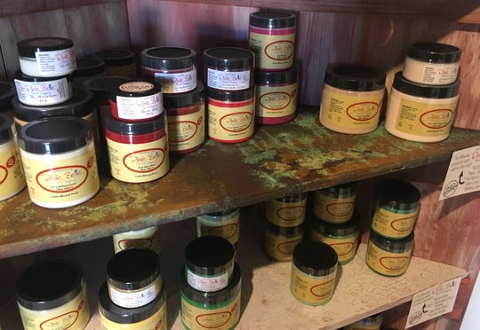 Just a few of the shades and treatments available in Dixie Belle paint. The shelves themselves were painted with different Dixie Belle treatments.