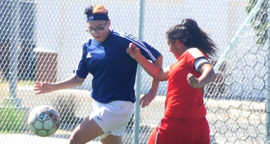 Junior Alissa Cordova, left, scored a goal in the Lady 'Cats 2-1 victory over Santa Teresa last Tuesday.