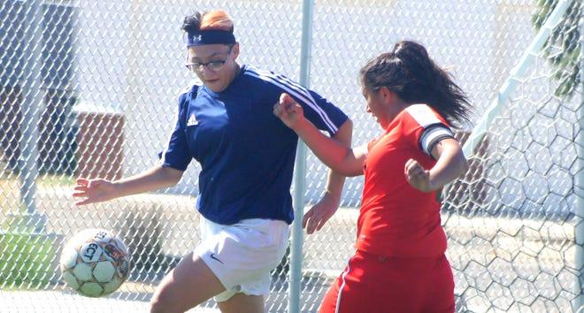 Junior Alissa Cordova, left, scored a goal in the Lady 'Cats 2-1 victory over Santa Teresa last Tuesday.