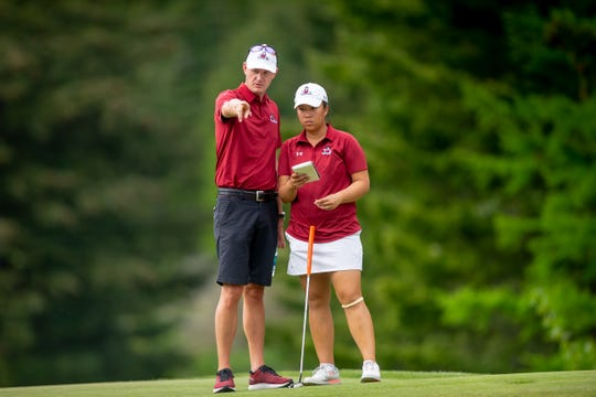 New Mexico State University competes in the 2019 NCAA Women's Golf Regional at Tumble Creek Club in Cle Elum, Washington, on May 8, 2019. (Photography by Scott Eklund/Red Box Pictures)