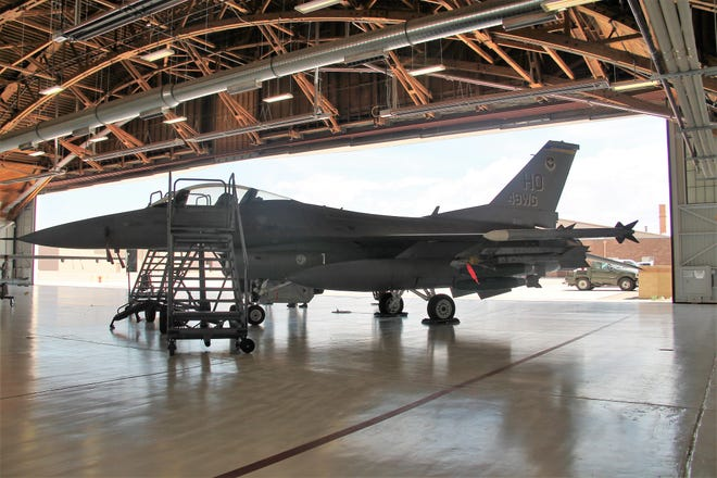 An F-16 on display at the Holloman Air Force Base Civic Leaders Open House July 29, 2019.