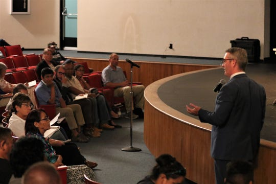 Aztec Mayor Victor Snover speaks about methane emissions, Monday, July 29, 2019, during a public comment section of a meeting at San Juan College.