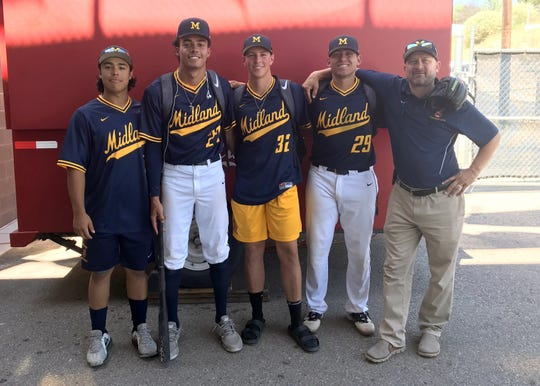 Left to right: Dominic Tamez, Chase Matthews, Ethan Bosacker, Chase Silseth and Chad Silseth pose after a game in the Connie Mack World Series. The Silseth family has been hosting players competing at the tournament for the last 15 years.