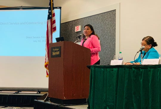 Roselyn Tso speaks at the quarterly meeting for the Indian Health Service Direct Service Tribes Advisory Committee on July 30 in Albuquerque.