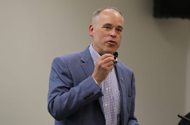 NMED Secretary James Kenney addresses the audience, Monday, July 29, 2019, at San Juan College.