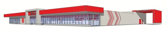 A rendering of the proposed renovations at the Salvation Army store in Livonia.
