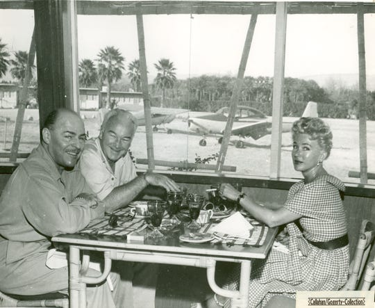William and Grace Boyd dining at the Desert Air Hotel at the Desert Airpark. The site of the unique hotel where guests could land their planes near the hotel entrance is today home to Omni Rancho Las Palmas in Rancho Mirage.