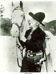 Actor William Boyd, best known for his cowboy character, Hopalong Cassidy, and his horse, Topper.