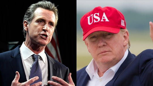 California Gov. Gavin Newsom, left, signed a bill in July that requires presidential candidates, including President Donald Trump, to provide five years of tax returns in order to appear on California primary ballots in March 2020.