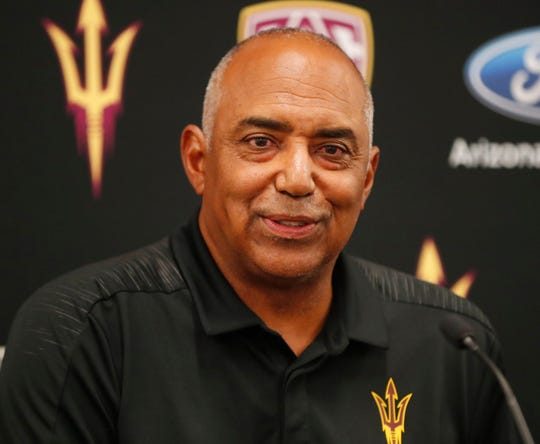 ASU special advisor Marvin Lewis answers questions during media day at Sun Devil Stadium July 30, 2019.