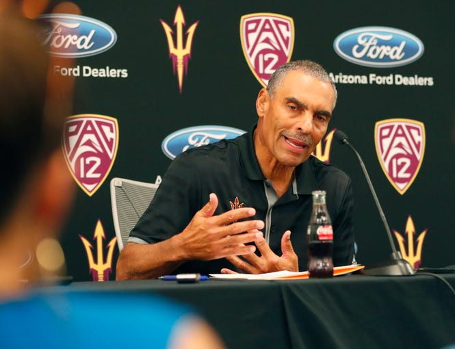 ASU head football coach Herm Edwards answers questions during media day at Sun Devil Stadium July 30, 2019.