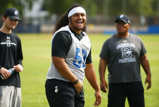Chandler High offensive lineman Nehemiah Magalei during practice on July 29, 2019 in Chandler, Ariz.