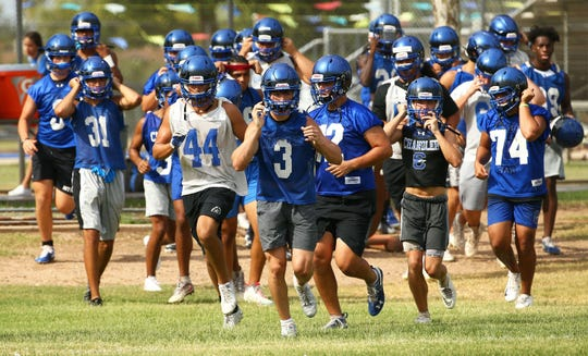 Chandler High football practice on July 29, 2019 in Chandler, Ariz.