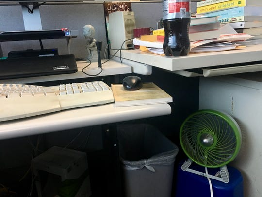 A fan under your desk at work keeps things breezy.