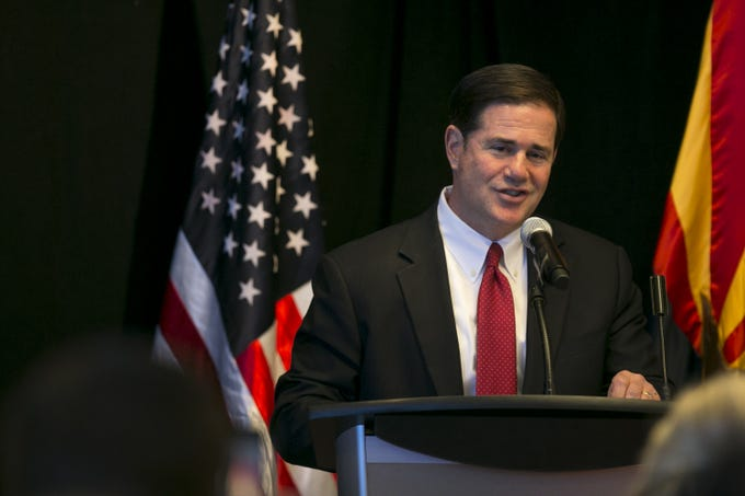 Gov. Doug Ducey speaks at a news conference at the Microsoft office in Tempe on July 30, 2019. Microsoft announced it would be starting two new projects in Arizona.