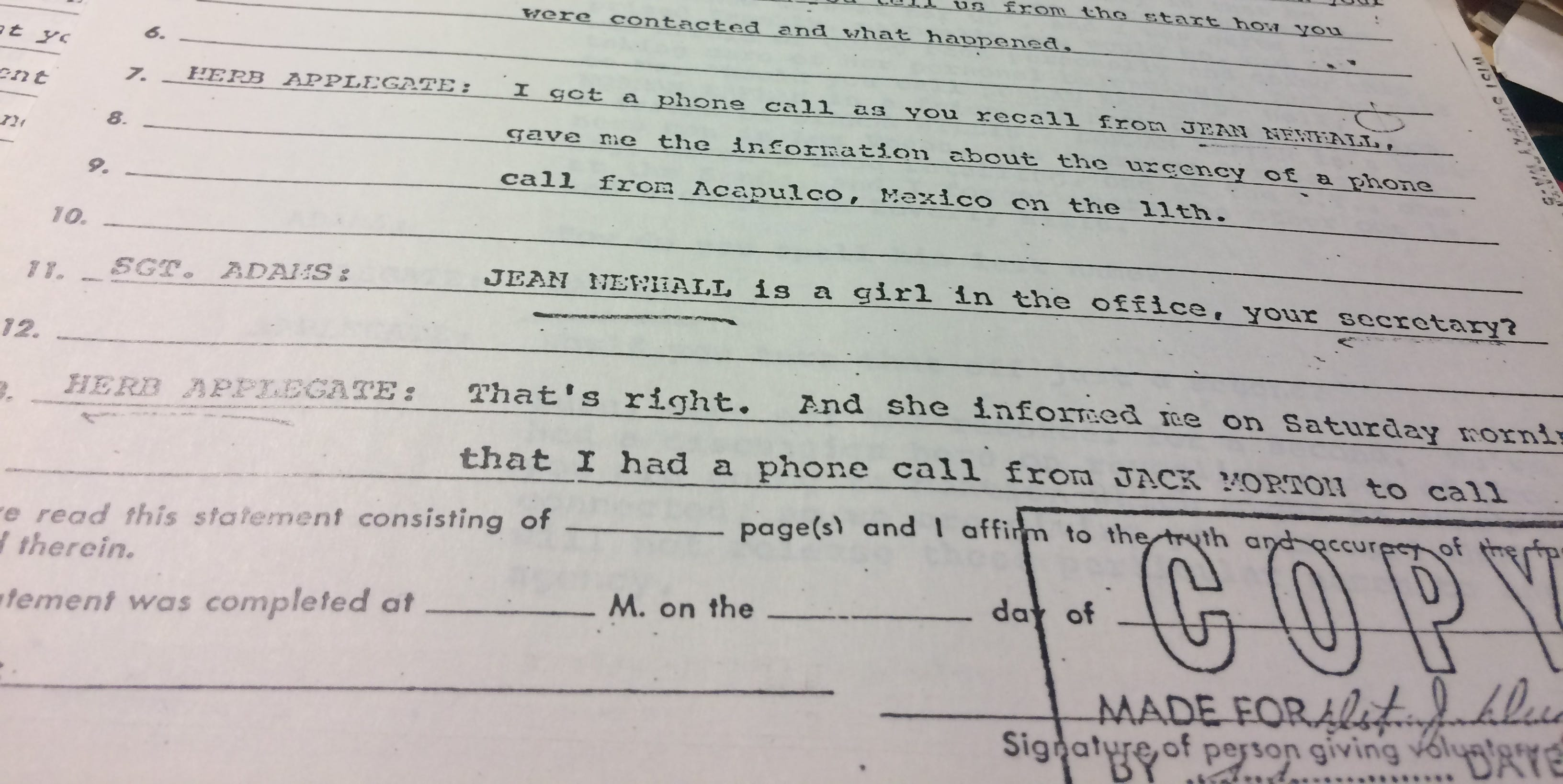 This is the Clark County Sheriff's Office report about an interview with Herb Applegate. The agency was investigating the shooting death of a man whom Applegate had sent to Las Vegas to seize a car.