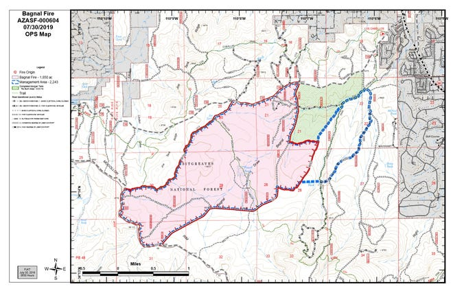 A map of the Bagnal Fire burning near Show Low, according to Apache-Sitgreaves National Forest officials.