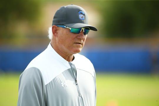 Chandler High coach Rick Garretson during practice on July 29, 2019 in Chandler, Ariz.
