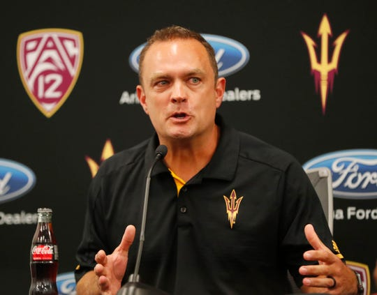 ASU defensive coordinator Danny Gonzales answers questions during media day at Sun Devil Stadium July 30, 2019.