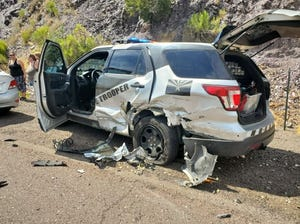 An elderly man crashed his car into a patrol car on the highway after he blacked out, according to the Department of Public Safety.