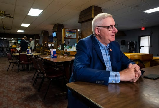 U.S. Rep. Paul Mitchell answers questions while seated at a table inside VFW Post 796 in Port Huron Tuesday, July 30, 2019, during a forum for two Veterans Affairs' programs. Mitchell said last week that he plans to step down from his seat in Congress after just two terms in early 2021.