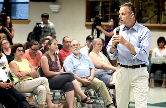 Congressman Scott Perry speaks during a town hall event at Hummelstown Fire Department Tuesday, July 30, 2019. It was the first in-person town hall by Perry in over two years. Bill Kalina photo