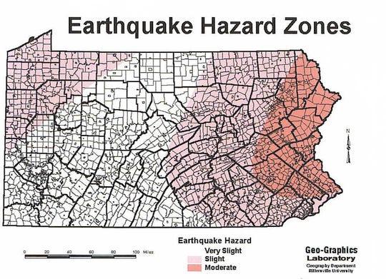 Earthquakes Hazard Zones in Pennsylvania.