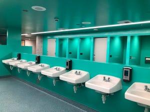 A unisex single stall bathroom at Desert Skies Middle School.