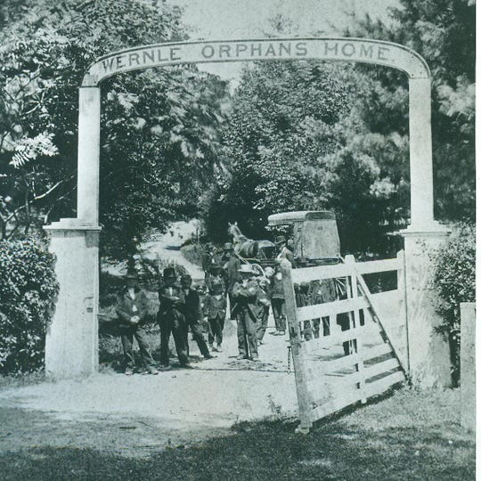 Late 19th century image of the entrance to the Wernle Orphan Home at 2000 Wernle Road. Named for Reverend Carl Wernle, a Lutheran minister from Galion, Ohio, who contributed funds for the original building, the orphanage at that time was supported by Lutherans.