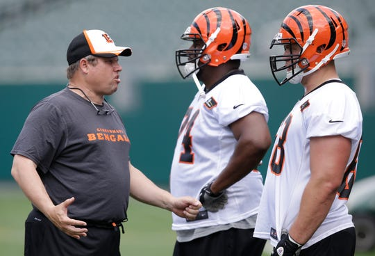 Rochester native Paul Alexander coached the offensive line for the Cincinnati Bengals from 1994 through 2017. He visited Bills' training camp Tuesday.