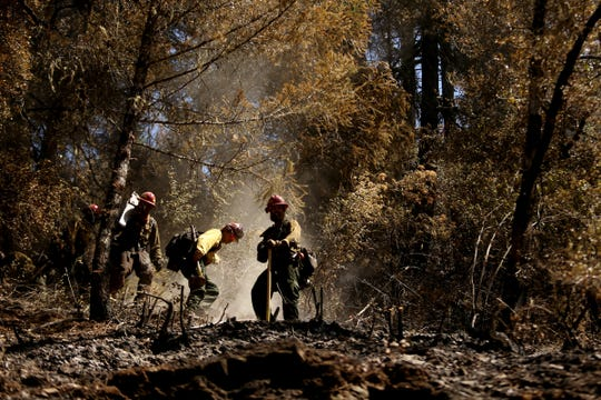 Pacific Oasis Wildland firefighters manage hot spots on the Milepost 97 Fire near Canyonville in southern Oregon on July 30, 2019.