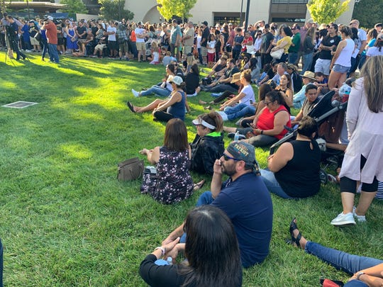 Crowds gather July 29, 2019 in Gilroy to mourn the people killed and wounded in a shooting at the Gilroy Garlic Festival.